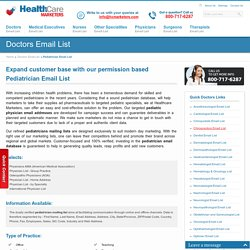 Pediatrician Email List : Pediatric Physicians Mailing Database