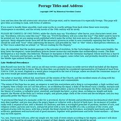 """Peerage Titles"""