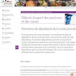 Défauts d'aspect des peintures et des vernis - 3ATP.ORG : site pour la promotion du métier de restaurateur de tableaux