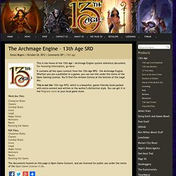 Pelgrane Press Ltd » Blog Archive » The Archmage Engine – 13th Age SRD