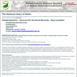 Pembrokeshire - sources for archival records Dyfed FHS