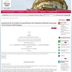 proposition de loi tendant à la pénalisation de l'usurpation d'i