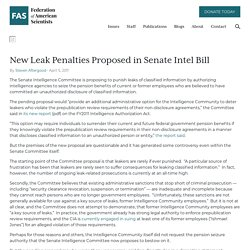 New Leak Penalties Proposed in Senate Intel Bill