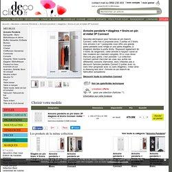 Armoire penderie en pin blanc 3P étagères et tiroirs Connect -métal