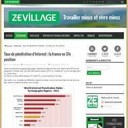 Taux de pénétration d'Internet : la France en 37e position