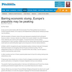 Barring economic slump, Europe's populists may be peaking