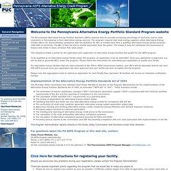 Pennsylvania AEPS Alternative Energy Credit Program | Welcome