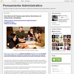 Pensamiento Administrativo: Una técnica de 6 pasos para tomar decisiones en situaciones complejas.