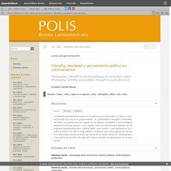 Filosofía, identidad y pensamiento político en Latinoamérica