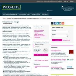 Pension scheme manager: Job description