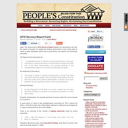 People's Blog for the Constitution :: 2010 Secrecy Report Card