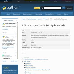 PEP 8 - Style Guide for Python Code