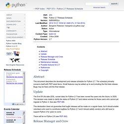 Python 2.7 Release Schedule