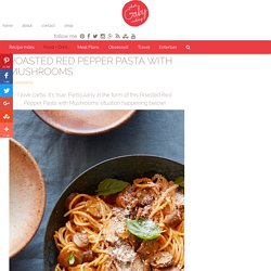 Red Pepper Pasta with Mushrooms and Spinach Recipe