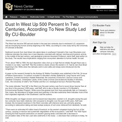 Dust In West Up 500 Percent In Two Centuries, According To New Study Led By CU-Boulder