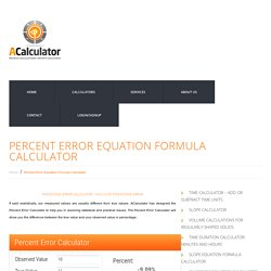 Percent Error Equation Formula Calculator