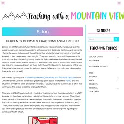 Percents, Decimals, Fractions and a Freebie! - Teaching with a Mountain View
