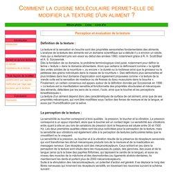 Perception et évaluation de la texture (DÉFINITION POUR SENSATION EN BOUCHE)