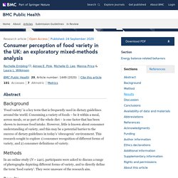 BMC PUBLIC HEALTH 24/09/20 Consumer perception of food variety in the UK: an exploratory mixed-methods analysis