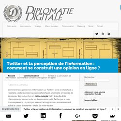 Twitter et la perception de l'information : comment se construit une opinion en ligne ?