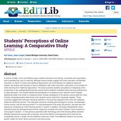 Students' Perceptions of Online Learning: A Comparative Study