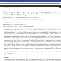 CLIMATE 26/03/17 Effect of Global-GAP Policy on Climate Change Perceptions of Smallholder French Beans Farmers in Central and Eastern Regions, Kenya