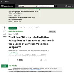The Role of Disease Labels in Patient Perceptions and Treatment Decisions