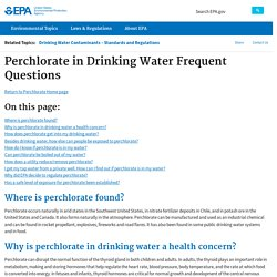 EPA 30/01/17 Perchlorate in Drinking Water Frequent Questions