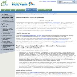CALIFORNIA DEPARTMENT OF PUBLIC HEALTH 10/05/12 Perchlorate in Drinking Water