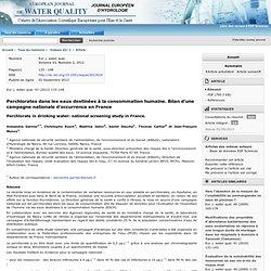 Eur. j. water qual. 43 (2012) 133–148 Perchlorates dans les eaux destinées à la consommation humaine. Bilan d'une campagne natio