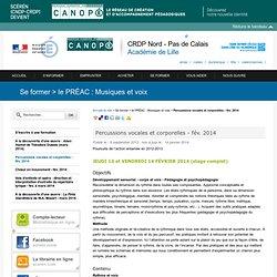 Percussions vocales et corporelles - fév. 2014 - SCÉRÉN/CRDP Nord-Pas de Calais