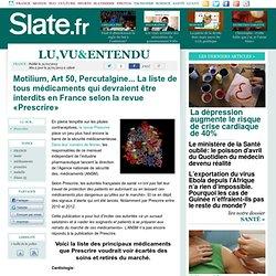 Motilium, Art 50, Percutalgine... La liste de tous médicaments qui devraient être interdits en France selon la revue «Prescrire»