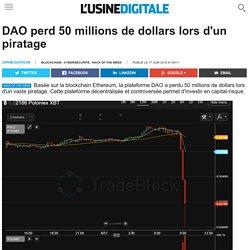 DAO perd 50 millions de dollars lors d'un piratage
