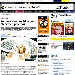 RIO+20 • Sommet sans ambition pour planète en perdition