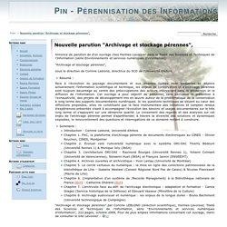 """Nouvelle parution """"Archivage et stockage pérennes"""", [Pin - Pérennisation des Informations Numériques]"""