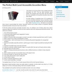 The Perfect Multi Level Accessible Accordion Menu