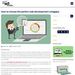 How to choose the perfect web development company