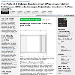 The Perfect 3 Column Liquid Layout: No CSS hacks. SEO friendly. iPhone compatible.