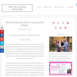 How To Make The Perfect Lesson Plan Binder - The Tightwad Teacher