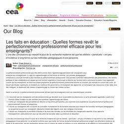 Les faits en éducation : Quelles formes revêt le perfectionnement professionnel efficace pour les enseignants?