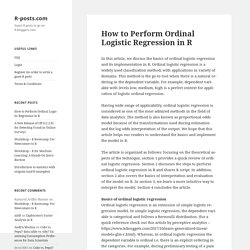 How to Perform Ordinal Logistic Regression in R – R-posts.com