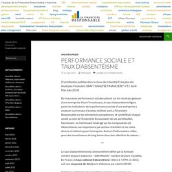 Performance sociale et taux d'absentéisme