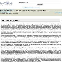 Management de l'innovation et la performance des entreprise agroalimentaire - Rabiee Abidar