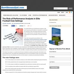 The Role of Performance Analysts in Elite Football Club Settings