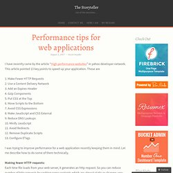 Performance tips for web applications « The Storyteller