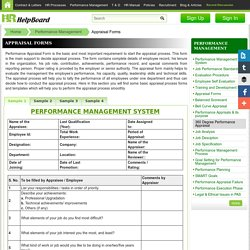 Performance Appraisal Forms, Sample format and templates - PMS