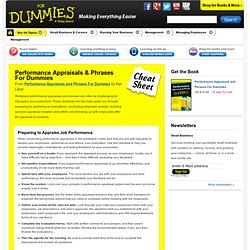 Performance Appraisals & Phrases For Dummies Cheat Sheet