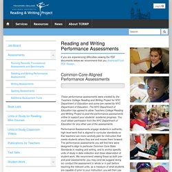 The Reading & Writing Project - Reading and Writing Performance Assessments