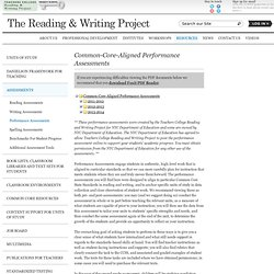 Performance Assessments - Teachers College Reading & Writing Project