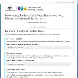 Performance Review of the Australian Innovation, Science and Research System 2016